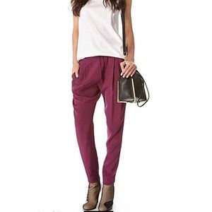 3.1 Phillip Lim Silk Draped Pocket Trousers Plum 2
